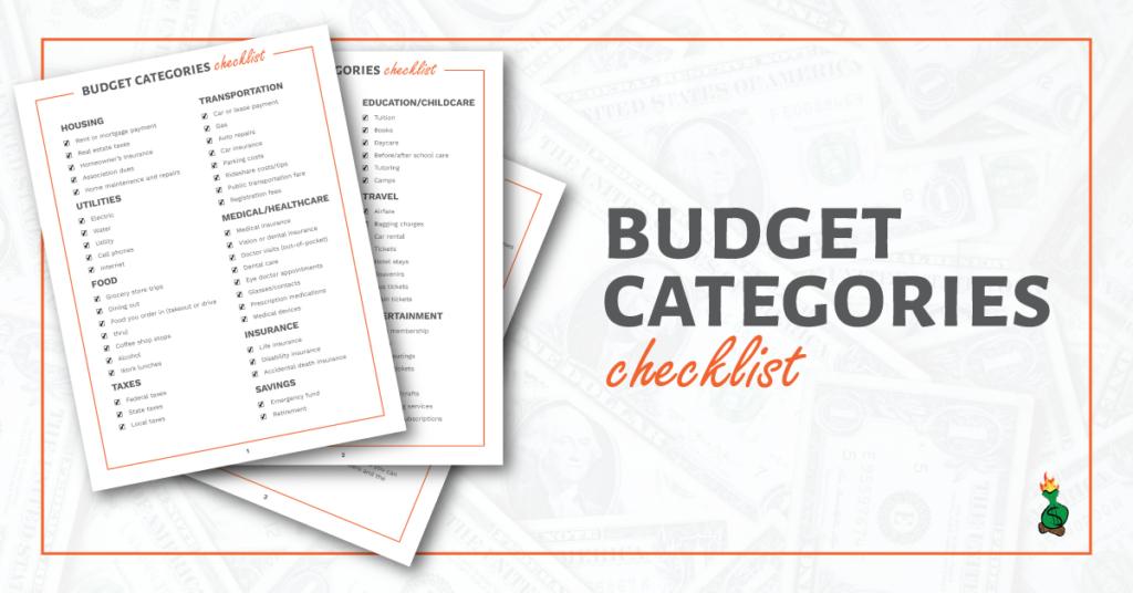 Budget Envelope Categories Checklist