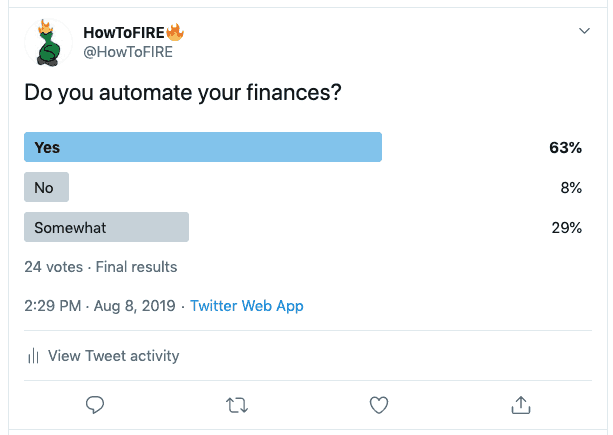 Twitter Automate Your Finances Poll